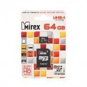 Карта памяти MicroSD 64 Gb Class 10 UHS-1 T-Flash Mirex+SD адаптер